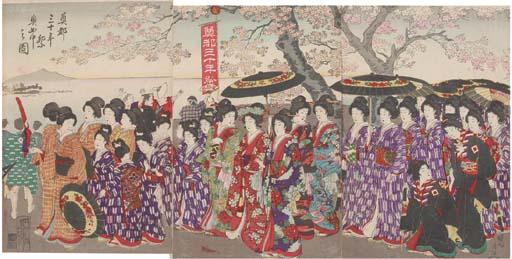 Chikanobu, an oban triptych