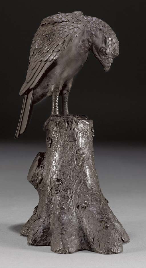 A bronze model of an eagle, 19