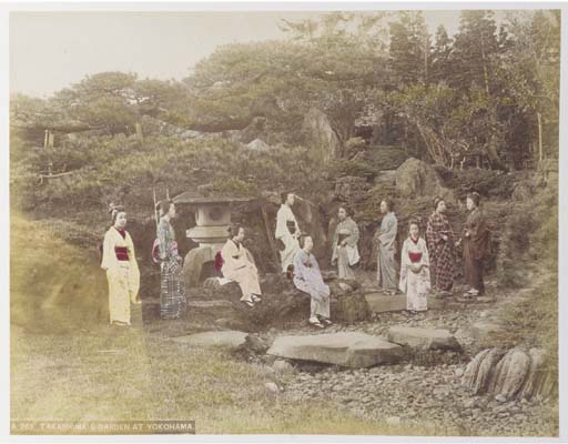 A Japanese sepia and hand tint