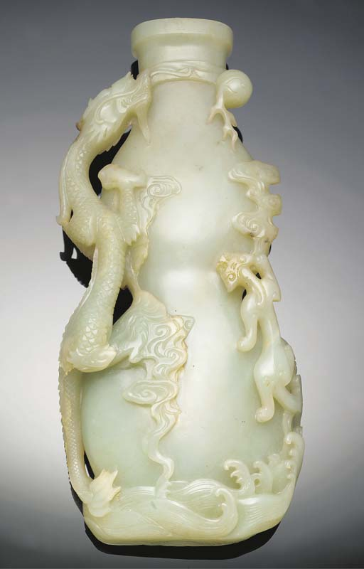 A large celadon jade double go