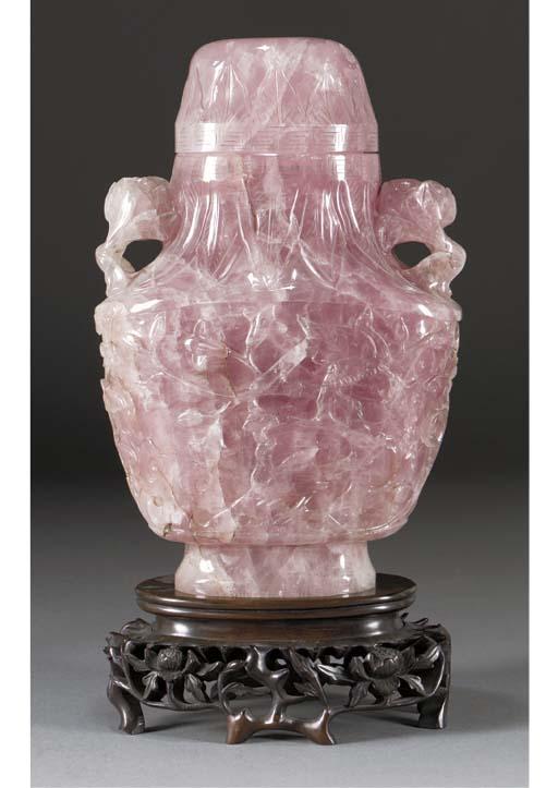 A large rose quartz vase and c