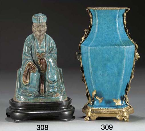 A Chinese turquoise glazed hex