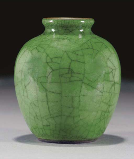 A Chinese green glazed crackle