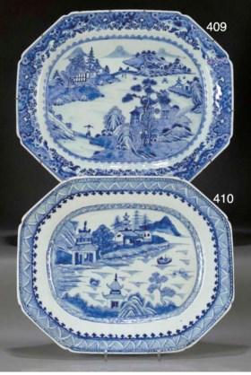 A blue and white meatdish, Qianlong