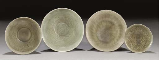 Four Ming celadon glazed bowls