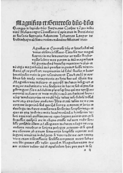 LANGER, Johannes. De censibus.