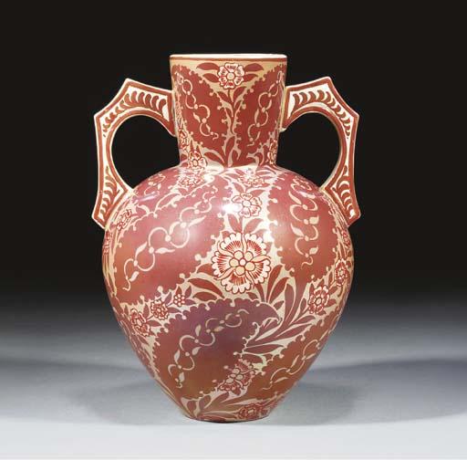 An Earthenware Ruby Lustre Vas
