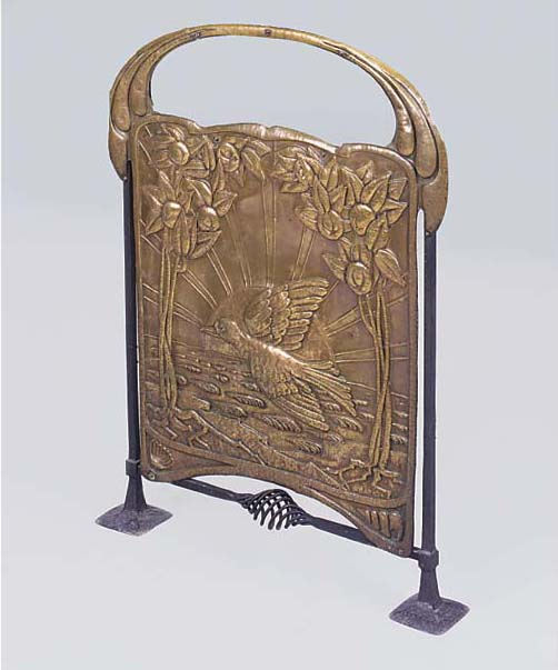 A COPPER AND WROUGHT-IRON FIRE