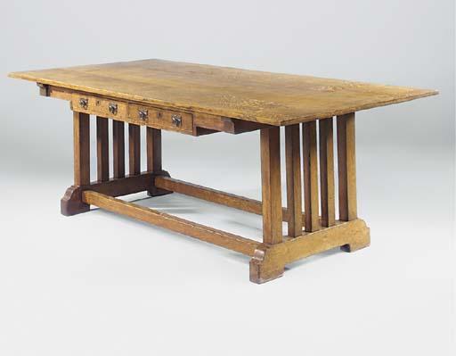 AN OAK DINING TABLE  DESK