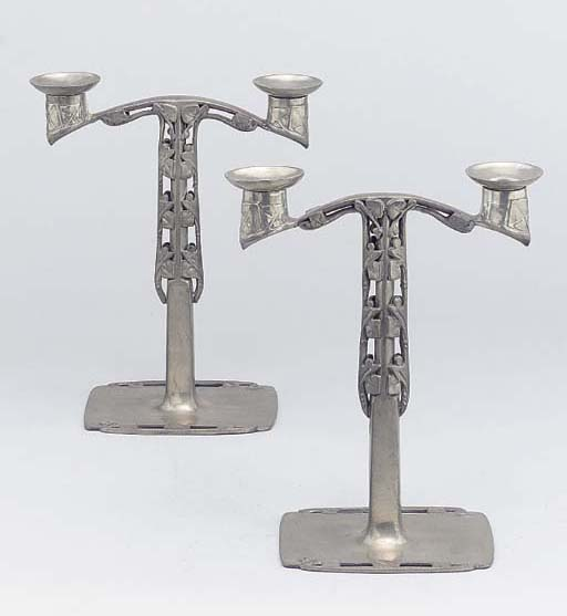 A Pair of Tudric Pewter Candel