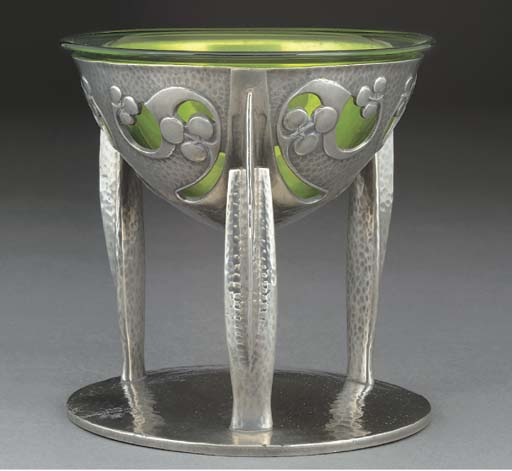 A Tudric Pewter and Glass Coup