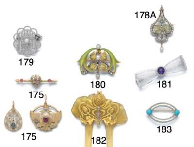 An Art Nouveau gold, enamel, d
