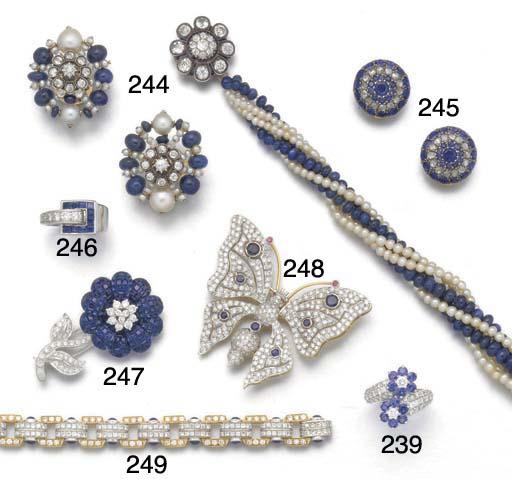 A sapphire and diamond flower