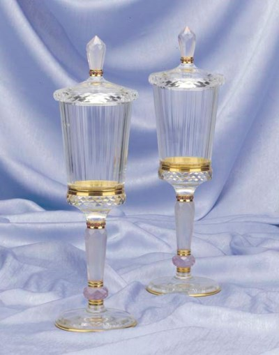 A pair of rock crystal, rose-q