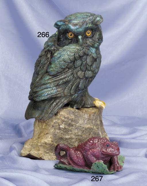 A carved labradorite sculpture