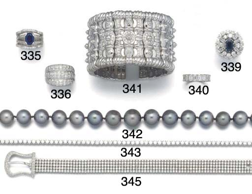 A diamond set broad bangle
