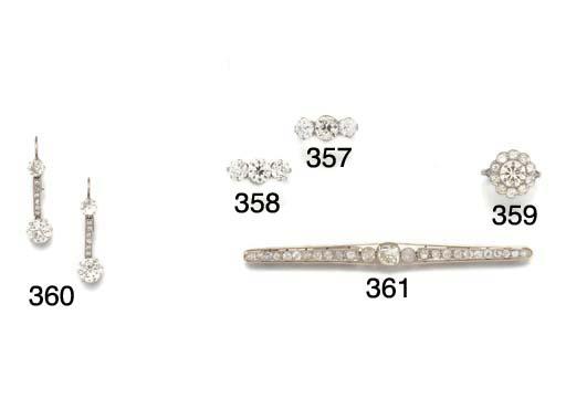 A pair of diamond drop earring