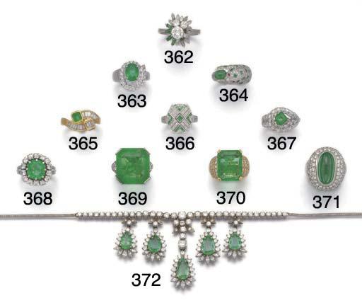 A cabochon emerald and diamond