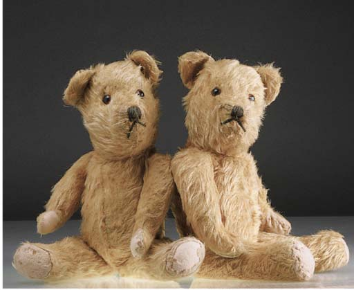 A pair of British teddy bears