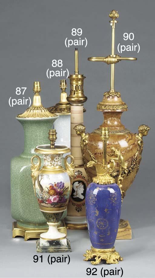 A pair of gilt metal mounted m