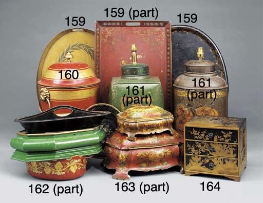 Twelve Victorian japanned meta