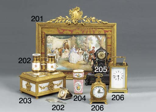 A French ormolu cased desk tim