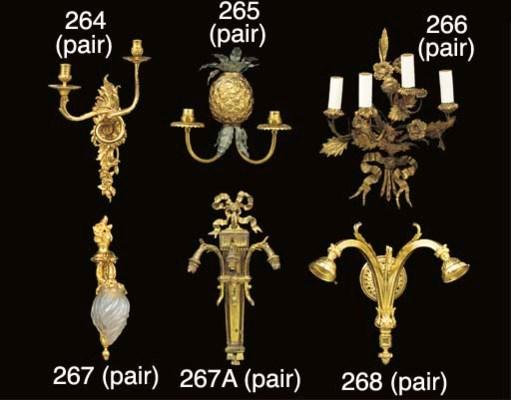 A pair of gilt metal four ligh