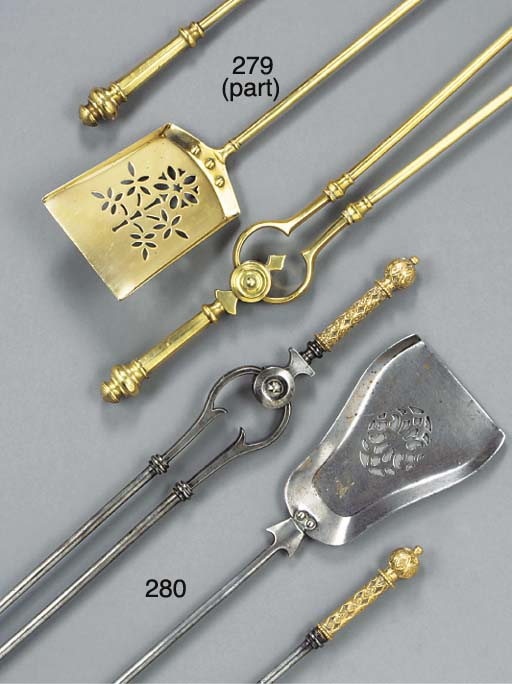 A SET OF Victorian BRASS FIRE