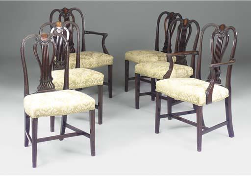 A set of six Edwardian mahogan