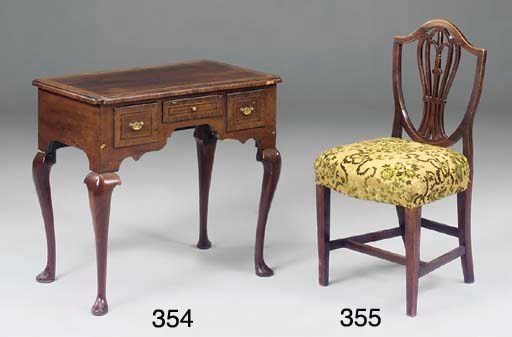 A GEORGE III ELM DINING CHAIR