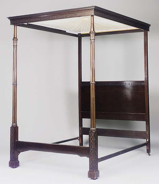 A MAHOGANY FOUR POSTER BED