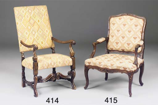 A FRENCH WALNUT FAUTEUIL