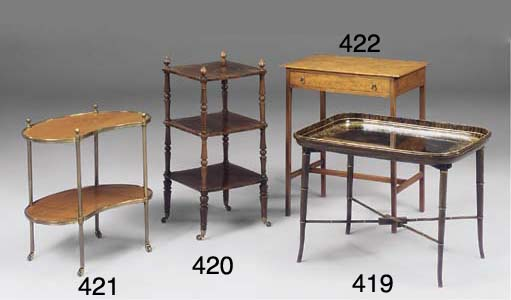 A MAHOGANY AND BRASS TWO TIER
