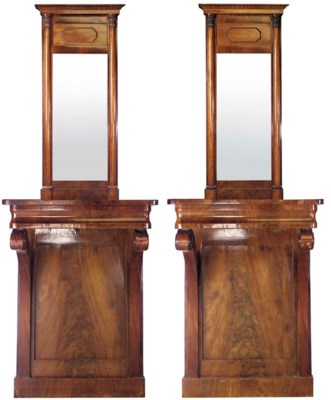 A PAIR OF GERMAN MAHOGANY PIER
