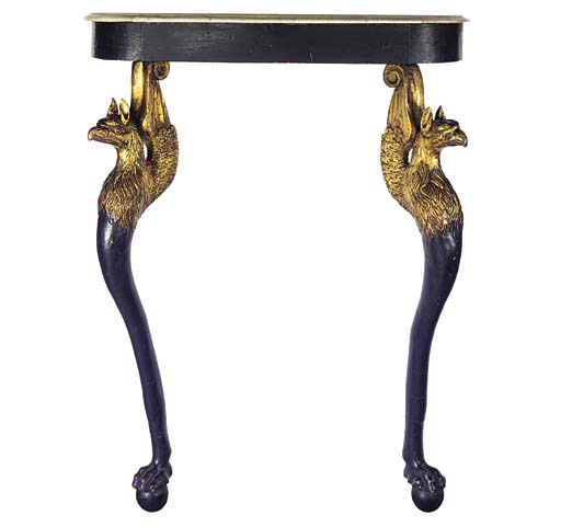 AN EBONISED AND GILT CONSOLE T