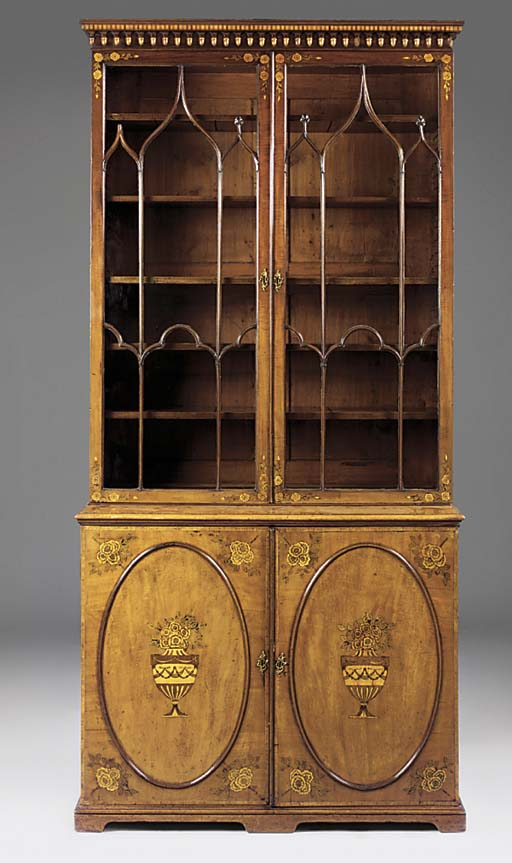 A MAHOGANY AND SATINWOOD CROSSBANDED BOOKCASE