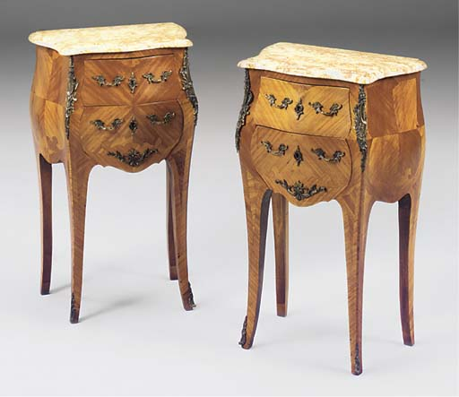 A PAIR OF SMALL ORMOLU MOUNTED