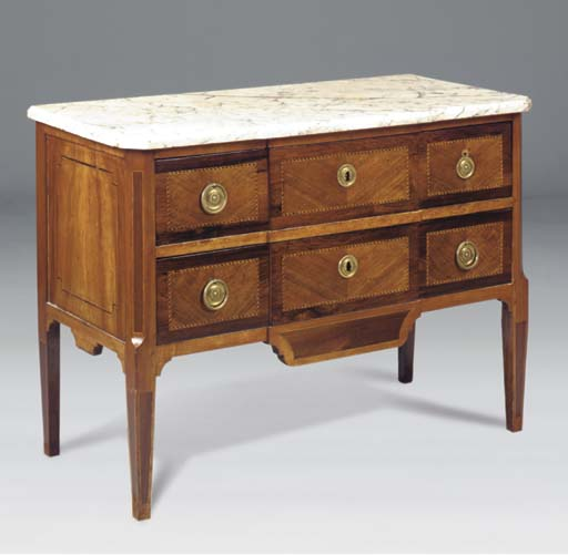 A WALNUT AND INLAID MARBLE TOP