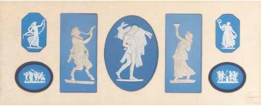 Seven framed Wedgwood pale-blu