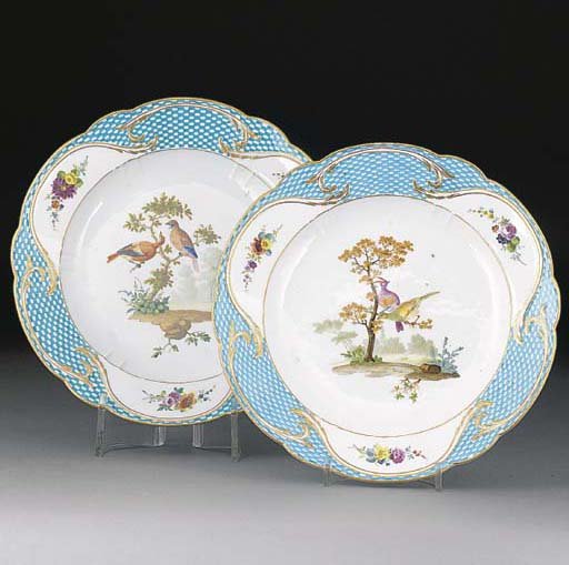 A pair of Meissen shaped plate