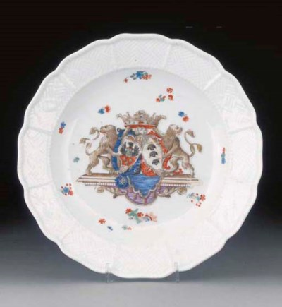 A Meissen armorial plate form