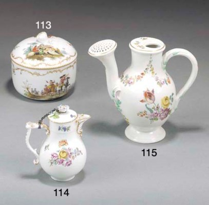 A Meissen milk jug and cover