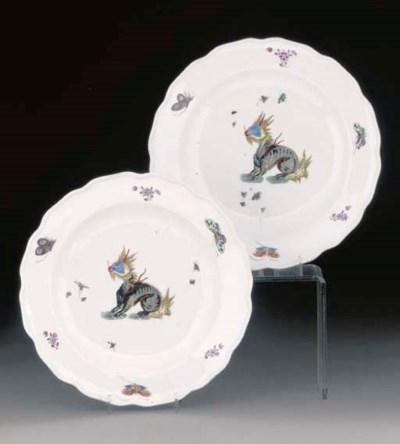 Two Meissen fabeltiere plates