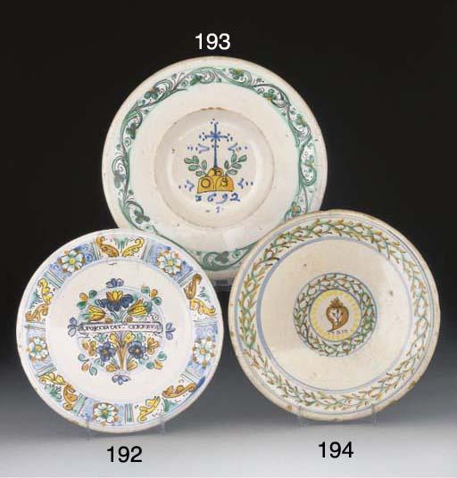 An Italian maiolica dated dish