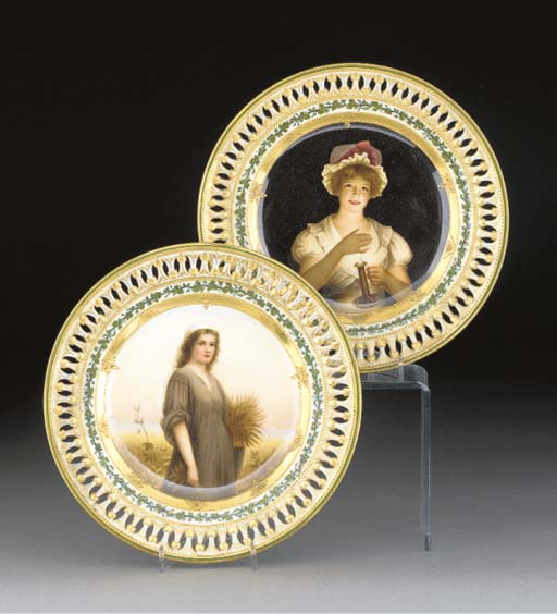 Two Meissen cabinet plates pai
