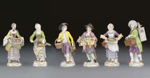 Six Meissen Cris de Paris figu
