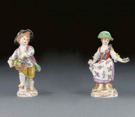 Three Meissen figures of child