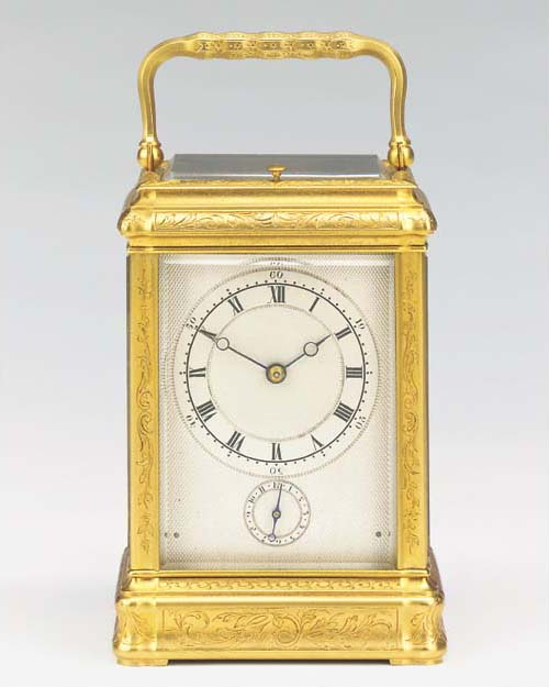 A French engraved gilt-brass g