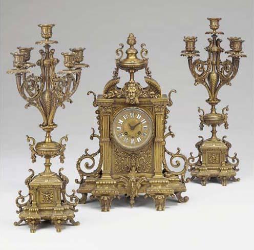 A French brass striking mantel