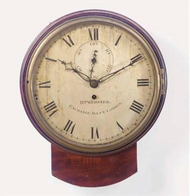 An English mahogany drop dial